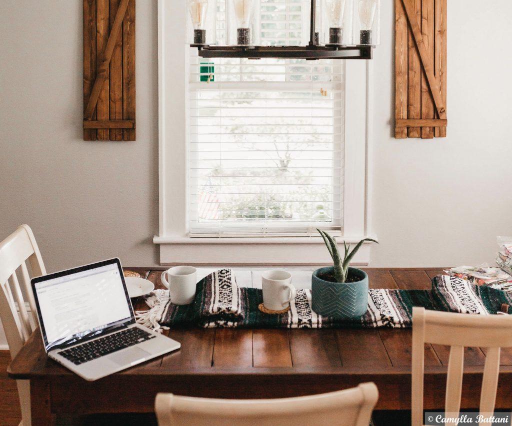 Home Office mit Plan